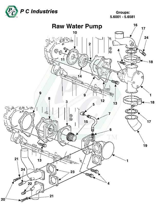 raw water pump series 60 detroit diesel engines catalog page 253 5 6001 5 6581 raw water pump jpg diagram