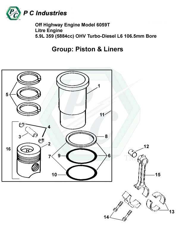 off highway engine model 6059t litre engine 5 9l 359