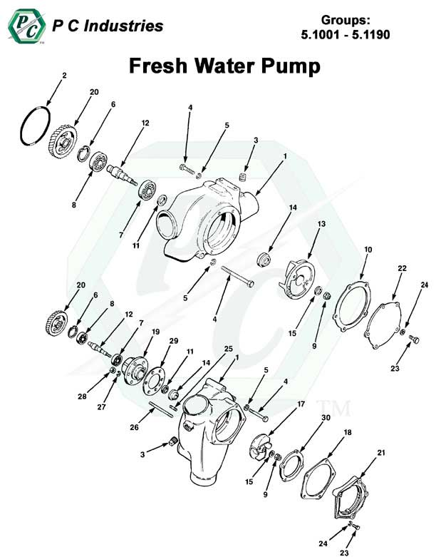 Fresh Water Pump Series V 71 Detroit Diesel Engines